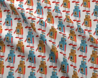Robot Fabric - Space Station Coordinate (Robots) By Vannina - Retro Robot Sci-Fi Vintage Toy Cotton Fabric By The Yard With Spoonflower