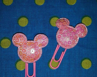 I'm All Ears Pair Mini Baby Pink Disney Inspired Planner Clip Bookmark Handmade Unique Alternative Christmas Gift Stocking Filler / Stuffer