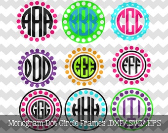 Monogram Dot Circle Frames .DXF/.EPS/.SVG Files for use with your Silhouette Studio Software