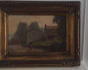Charming Impressionist oil of the Pont Aven school. 19th century. Breton country landscape.