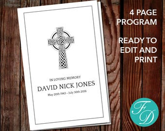 Funeral program template, order of service, memorial program, memorial service (Catholic Cross)