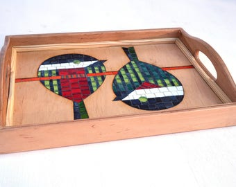 Glass Mosaic Serving Tray with two birds