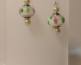 Pearl and painted bead drop earrings