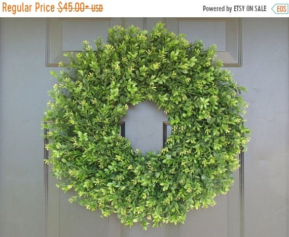 SUMMER WREATH SALE Thin, Xl Artificial Boxwood Wreath- Summer Door Wreaths- Wall Decor Sizes 14-22 inch available