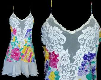 1980s Bright Sheer Floral Nightie by Victoria's Secret, Size Large