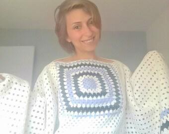 crochet white pancho