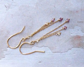 Gold Amethyst Earrings - Yellow Citrine Earrings - Ametrine Earrings -  November Earrings - Gold Chain Earrings - Simple Earrings