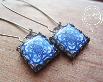 Portugal tile jewelry, Portuguese azulejos, Blue earrings, Spanish tile drop earrings, Lisbon, Iberia, Gypsy jewelry