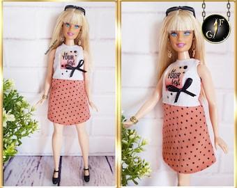"Doll dress ""Polka dots"", fits 1/6 Barbie Curvy high fashion clothes"