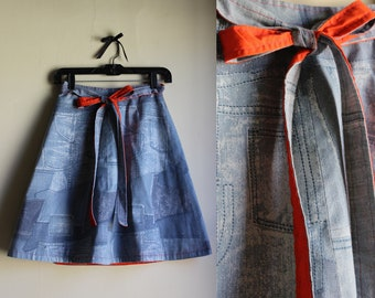 Quirky 1970s Printed Denim Wrap Skirt || Flashy Orange Lining || 1970s || Wrap Skirt || Size Small/Medium