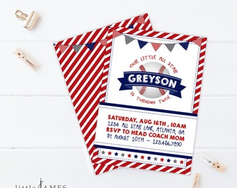 Baseball Birthday Party Invitation- Red, White and Blue / Little Boy Birthday / Rookie of the Year / Grand Slam