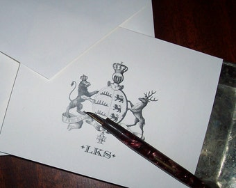 Deer, Stag ,Elk Lion Personalized Monogrammed Note Cards Stationery Old World Heraldic Family Crest Vintage Inspired Royal Cat Set 10