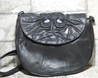 Cross Body Adjustable Purse With Face Monster Black Leather Unique Gift 447