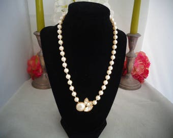 "Vintage SWAROVSKI Faux Pearl Necklace with 18kt GP. Pendant at Bottom. Measures 19.25"" inc/Pendant. Purchased in 2lb Lot"
