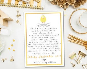 Pregnancy Announcements / Yellow Baby Riddle / Poem Pregnancy Reveal Idea / Adorable Chick to Announce your Baby / Digital or Printed Cards