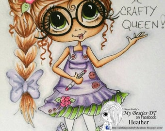 INSTANT DOWNLOAD Digital Digi Stamps Big Eye Big Head Dolls Digi  Img887 Crafty Queen TM By Sherri Baldy