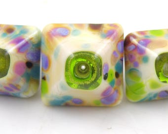 Twinkle Toes Crystal Trio SRA Lampwork Handmade Artisan Glass Donut/Round Beads Made to Order 15mm and 18mm