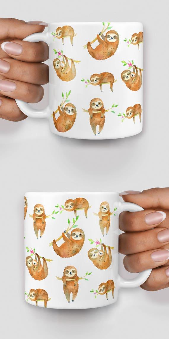 Cute sloths everywhere watercolor mug - Christmas mug - Funny mug - Rude mug - Mug cup 4P101