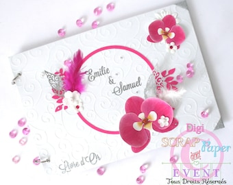 Orchid wedding guestbook and pen