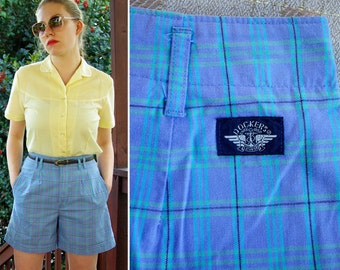 Periwinkle 1980's 90's Vintage Plaid DOCKERS High Waist Cotton Shorts size 4 6 Small