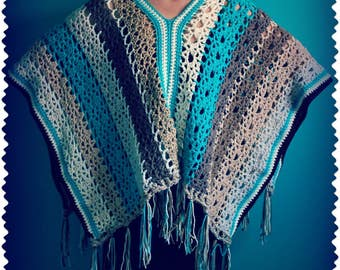 Crochet Poncho,Knit Shawl,Crochet Shawl,Poncho Sweater,Poncho Wrap,Poncho Cape,Hippie Clothes,Gypsy Clothing,Boho Clothing,Brown,Blue,Gift