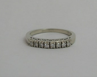 White gold and diamond band with heart motif, Anniversary band