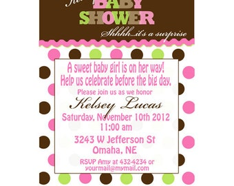 Pink Green Brown Polkadot Baby Shower Party Invitations Announement Digital File