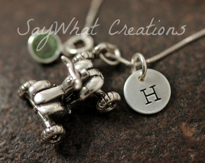 Sterling Silver ATV Quad Four Wheeler Charm Necklace with Mini Hand Stamped Initial and Birthstone