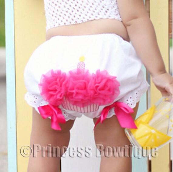 Birthday Girl Diaper Cover First Birthday Bloomer Cupcake