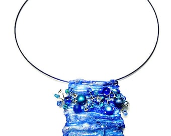 Fiber Art Jewelry, Blue Statement Necklace, Artsy Necklace Pendant, Repurposed Recycled Upcycled, Eco Friendly, One-of-a-Kind, Artisan