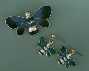 Vintage 2pc  Bee Pendant & Earrings Set