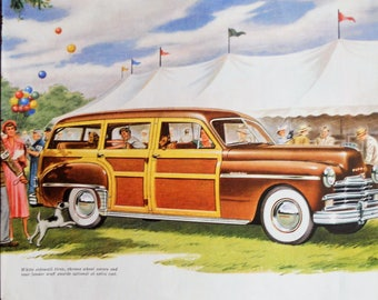 1950 Plymouth Woodie station wagon ad.  1950 Plymouth Woodie.  Vintage 1950 Plymouth Woodie car.  Woodie station wagon.