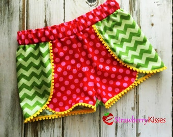 Tonal Green Chevron/Red and pink polka dot coachella shorts, pom pom shorts, ruffle shorts; M2M [Grade] Rules Personalized Shirt