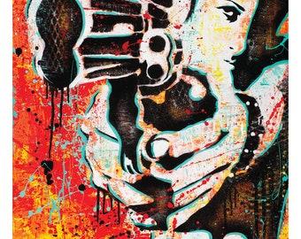 """Shooter II - """" Get Yer Gun"""" - 12 x 18 High Quality Pop Art Print"""