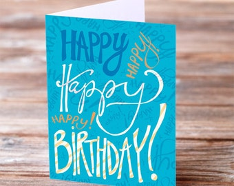Happy Birthday hand drawn type blue and orange greeting card