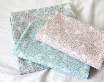 Flowers Cotton Fabric - Pink, Blue or Gray - By the Yard 94606
