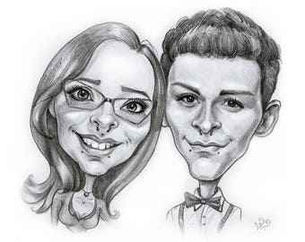 Couple Pencil Caricature Portrait from your Photo / custom caricature / couple caricature / couples gift portrait / couple pencil sketch