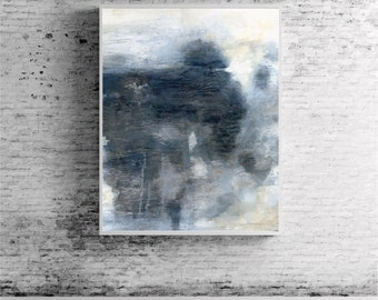 """Large abstract painting, abstract art, wall art, giclee print blue grey gray """"A Long Perspective"""""""