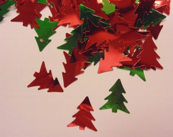 about 25 - 35 red and green Christmas tree confetti mix, 16 x 14 mm (11)
