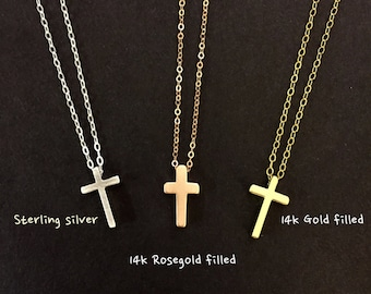 Tiny Cross necklace/ Simple Cross necklace/ cross necklace/ silver cross, gold cross, rose gold cross necklace/ everyday jewelry/ friendship