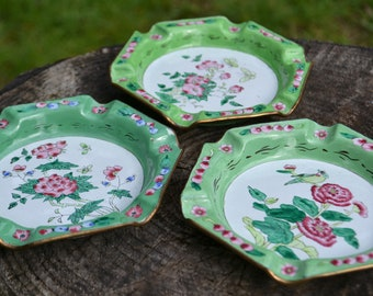 Set of 3 Enamel Floral Ashtrays