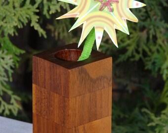 reclaimed Black Walnut bud vase, wooden bud vase