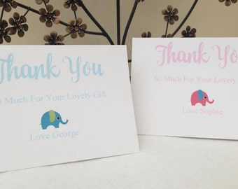Pack of 10 Personalised Thank You Card New Baby, Christening,  Birthday,  thank you card baby, thank you card boy, thank you card girl
