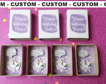 CUSTOM Unicorn birthday card, Unique card, Magical birthday, Customized Matchbox, Personalized Card, Rainbow unicorn card, Purple birthday