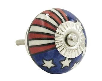 US Flag Patriotic Red, White, Blue Ceramic Decorative Drawer or Door Knob Pull - i1065s