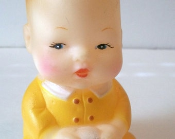 """Vintage Baby Boy inYellow Outfit Holding Ball  4.75""""  Squeaky Toy Antique Baby Toy -Lots of Wear, Made In China"""