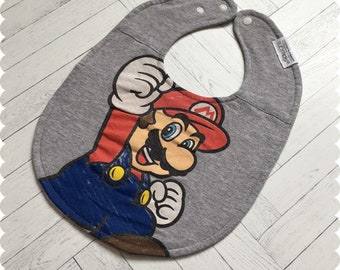 Mario Baby Bib, Recycled T-Shirt Baby Bib, Video Game Baby, Baby Boy Gift, Baby Shower Gift, Super Mario, Nerd Baby, Geek Baby