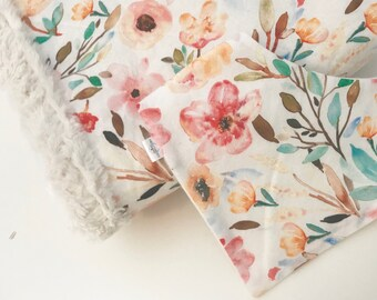 Watercolour floral Minky blanket and bibdana gift set