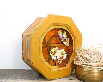 Upcycled Jewelry Box - Vintage Modern Chic - Mustard Peach - Butterfly Gift