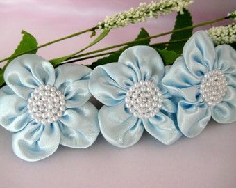 Baby Blue Satin Flower Pearl Appliques for Party Dresses, Baby Booties, Wrist Cuff Flowers, Embellishment, 2 inches, 6 or 12 pieces
